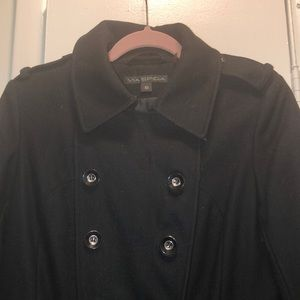 Via Spiga Jackets & Coats - Black Via Spiga Pea Coat